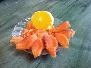 סלמון מלוח עם תפוזים