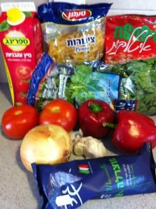 פסטה ברוטב ירקות ומוצרלה