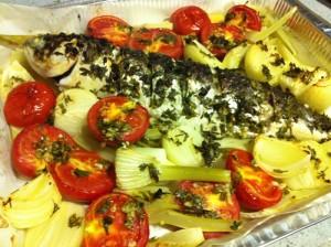 דג בתנור עם ירקות