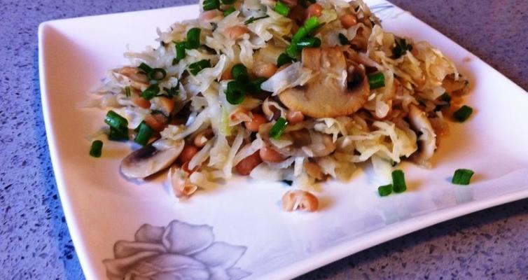 כרוב עם שעועית ופטריות